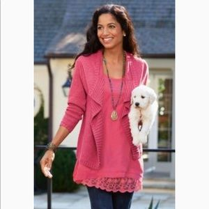 Soft Surroundings Toss it on open front cardigan S